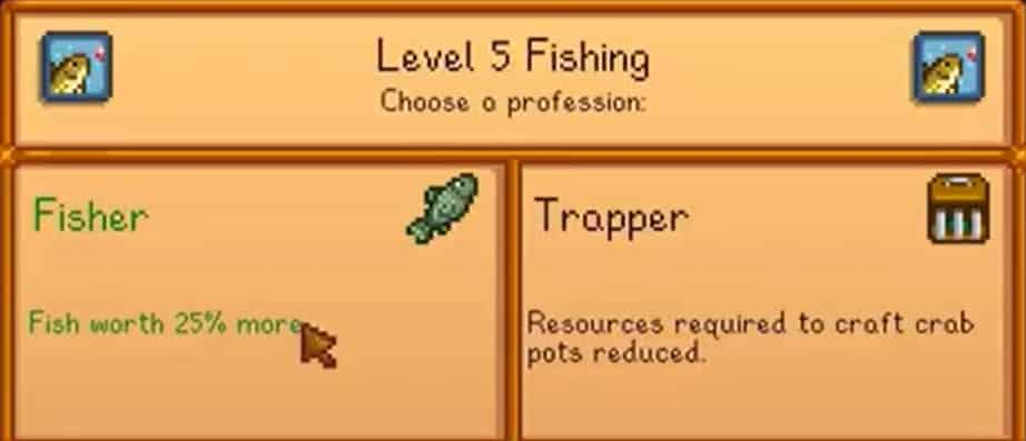 stardew valley fisher or trapper
