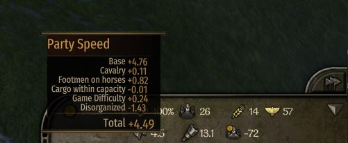 disorganized movement speed debuff bannerlord in game screenshot