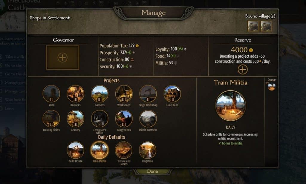 bannerlord manage settlement screenshot
