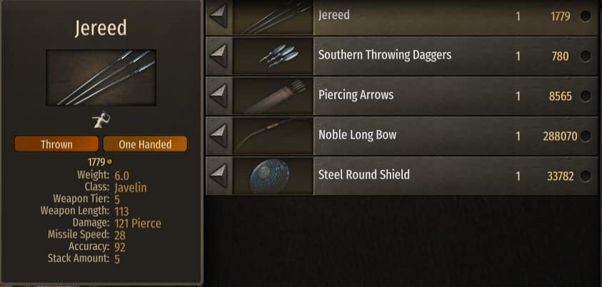 best thrown weapon bannerlord
