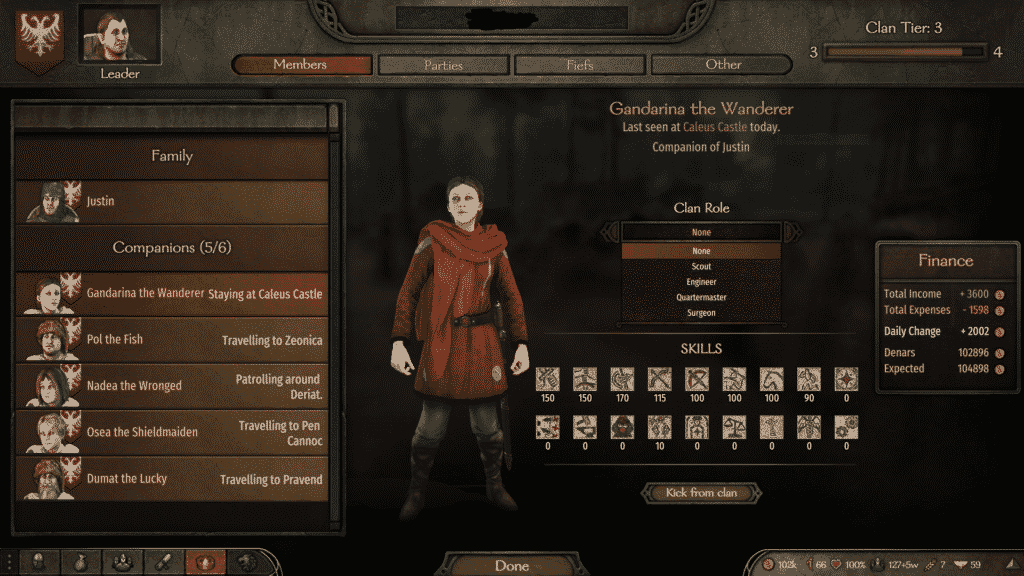 mount and blade clan roles guide in game screenshot