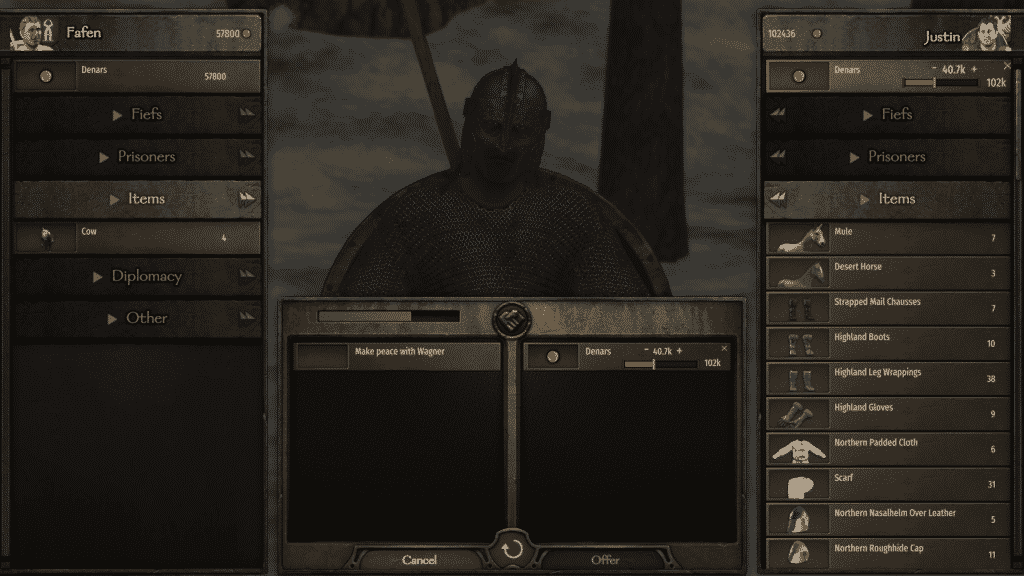 how to make peace bannerlord barter screen
