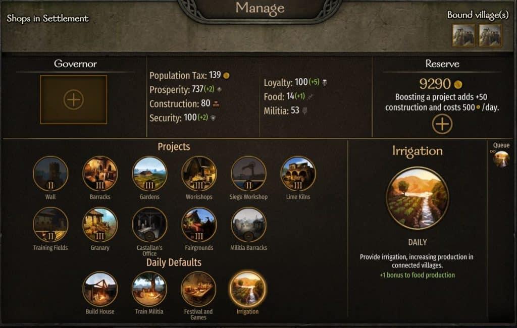 bannerlord manage settlement screen